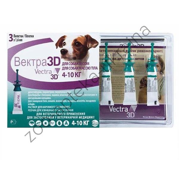 Капли Vectra 3D (Вектра 3D) 4,1-10 кг от блох и клещей для Собак (3 пипетки - 1,6 мл) CEVA