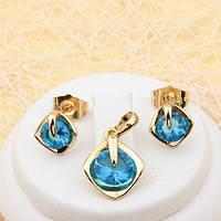 Комплект с ярко-голубыми фианитами позолота
