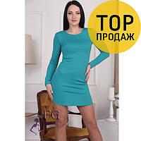 Женское короткое ассиметричное платье, разные цвета / платье женское трикотажное, на длинный рукав, стильное