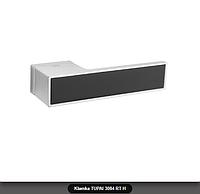Дверная ручка Tupai 3084 RT H хром матовый, вставка черный мат