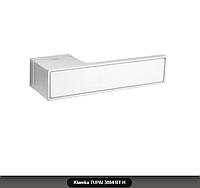 Дверная ручка Tupai 3084 RT H хром матовый, вставка белый мат