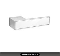 Дверная ручка Tupai 3084 RT H хром матовый, вставка  белый глянец