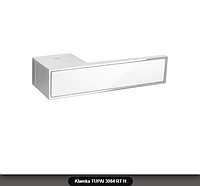 Дверная ручка Tupai 3084 RT H хром, вставка белый глянец
