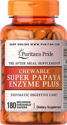 Пищеварительные энзимы и ферменты, Puritan's Pride Chewable Super Papaya Enzyme Plus 180 Chewables, фото 2