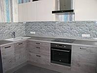Кухонный фартук из стекла кирпичи, фото 1