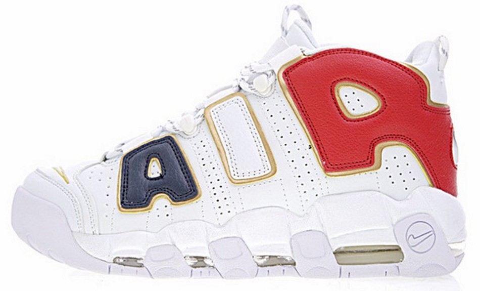Кроссовки мужские Nike Air More Uptempo QS AIR Navy Blue Red Gold. ТОП Реплика ААА класса.