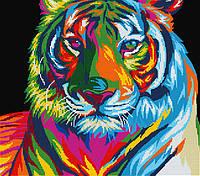 Схема для вышивки бисером POINT ART Цветной тигр, размер 35х31 см