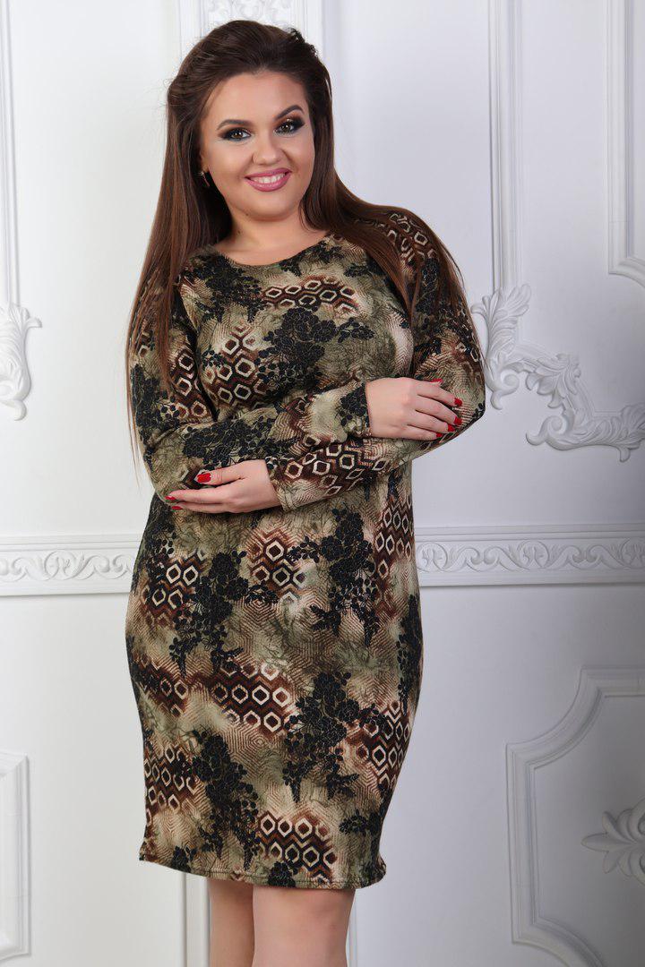 Красивое приталенное повседневное трикотажное платье в батальных больших размерах