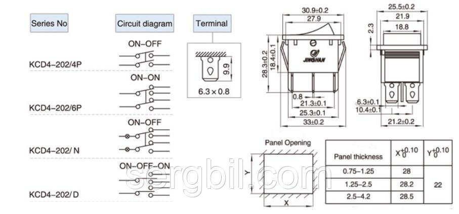 KCD4-202 Вимикач клавішний, з зел. подсв., 6 вив. мід.конт., 16А/250V