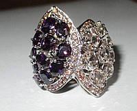 """Шикарное перстень с морганитом, аметистами в окружении сапфиров """"Дуплет"""", размер 18,1 от студии LadyStyle.Biz"""