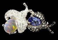 """Хорошенькое кольцо с танзанитами и опалом  """"Букашка"""" , размер 18,3 от студии LadyStyle.Biz, фото 1"""