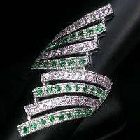 """Необычный перстень """"Веер"""" с гранатом цаворитом и розовыми  сапфирами, размер 17,3 от студии LadyStyle.Biz, фото 1"""