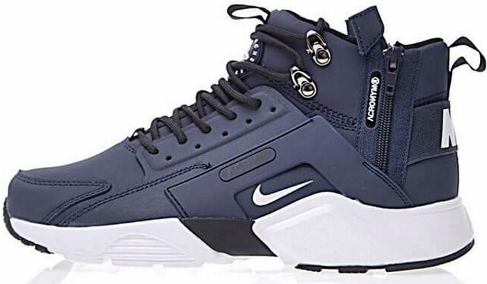 Кроссовки мужские Найк Nike Huarache X Acronym City MID Leather Navy/White. ТОП Реплика ААА класса.