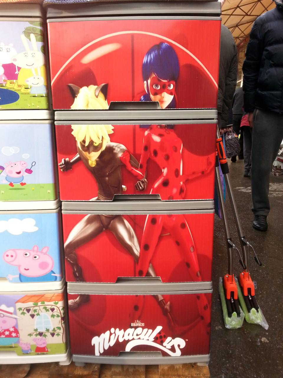 """Комод на 4 ящика с декором """"леди баг и супер кот """" Алеана"""