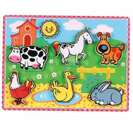 Рамка-вкладыш Домашние животные Viga Toys (56438), фото 2