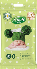 Влажные салфетки Smile baby 0+ c экстрактом ромашки и алоэ 24 шт