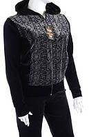 Велюровый женский спортивный костюм ЧБ капюшон K112 Леопард, XL