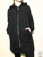 Женская демисезонная парка черная Bershka  куртка длинная без капюшона р. S 42