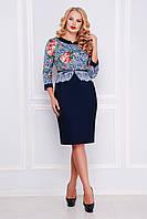 Элегантное женское нарядное платье футляр темно-синее с узором Кружево, большие размеры Аксинья-Б д/р