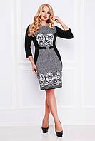 Нарядное женское черное платье футляр классическое с принтом Кружево, большие размеры Джемма-Б д/р