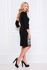 Нарядное женское черное платье футляр классическое с принтом Кружево, большие размеры Джемма-Б д/р, фото 2