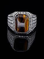 Мужское кольцо с тигровым глазом