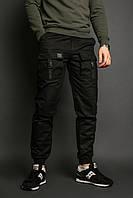 Мужские карго брюки черные бренд ТУР модель Bane M
