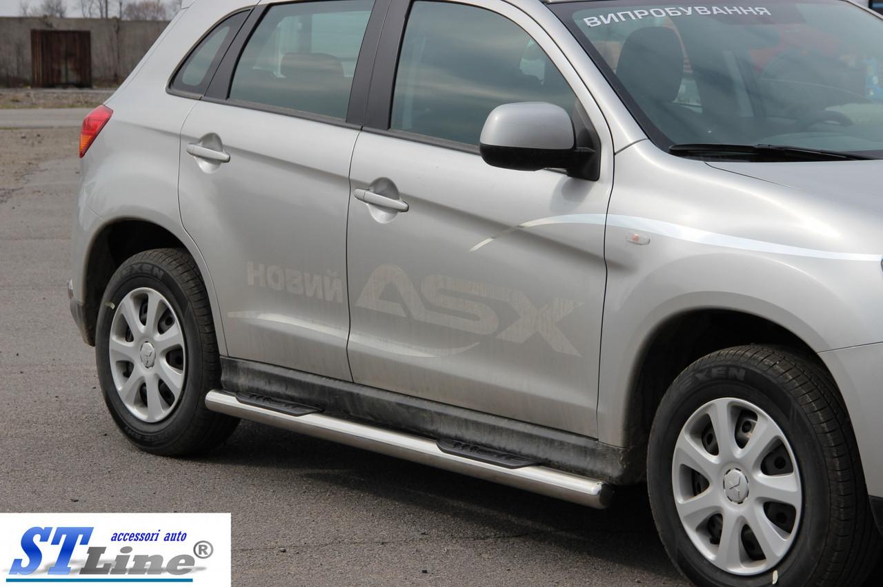 Бічні пороги (труби) на авто Mitsubishi ASX 2010-2016+ (пара., нерж)