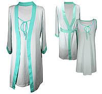 Комплект халат и ночная рубашка ментол