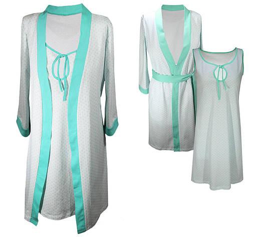 Комплект халат и ночная рубашка ментол разм. 42-44, фото 2