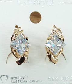 Гипоаллергенные серьги под золото Colorful с австрийскими кристаллами