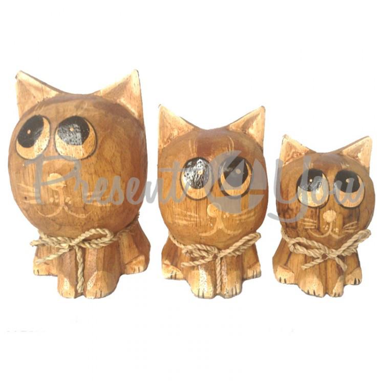 Деревянная статуэтка семя котов, 12, 10, 8 см