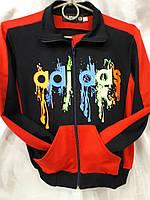 Костюм спортивный подростковый для мальчиков Adidas красный с черным