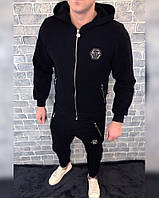 Спортивный костюм Philipp Plein D2603 черный теплый с капюшоном