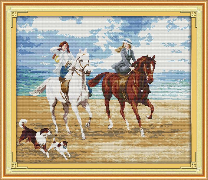 Дамы на лошадях R464 Набор для вышивки крестом с печатью на ткани 14ст