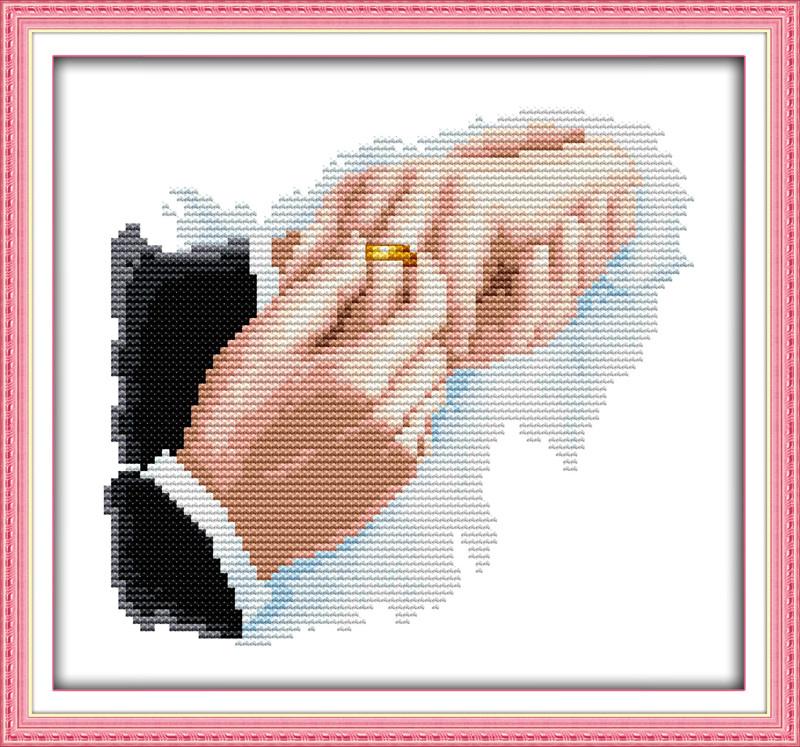 Кольца к свадьбе, чтобы найти пару R692 Набор для вышивки крестом с печатью на ткани 14ст