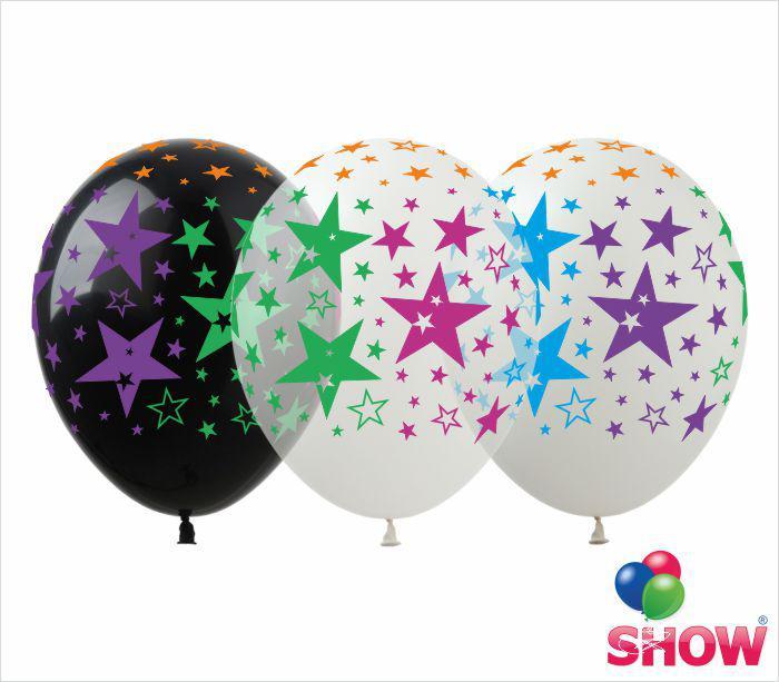 """Латексные воздушные шары с рисунком """"Звезды""""(черный, прозрачный, белый), диаметр 12 дюймов (30 см.), печать ше"""