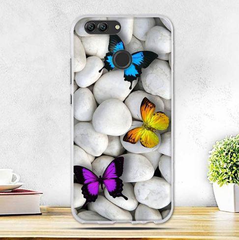 Бампер силиконовый чехол с принтом для Huawei Nova 2 Камни и бабочки