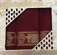 Набор махровых полотенец Турция 3ка (50x90x2 и 70x140)Бордо