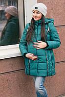 Зимняя куртка на синтепоне для беременных зеленого цвета