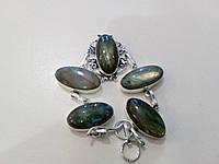 Очень яркий браслет с камнем лабрадор в серебре. Индия!, фото 1
