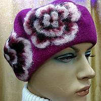 Береты TONAK  из мягкой шерсти с набивными цветами,фуксия цвет, фото 1