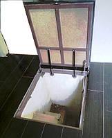 Потайной люк в подвал на амортизаторах под плитку, ламинат, паркет (облегчённый) 800х900 мм
