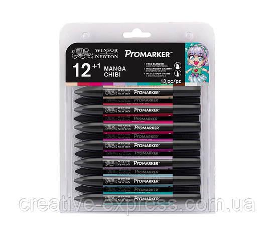 Набір маркерів WINSOR & NEWTON 12+1 шт  /manga  chibi, фото 2