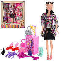 Кукла типа барби 29 см с нарядамииаксессуарами, обувь, чемодан,8826-A