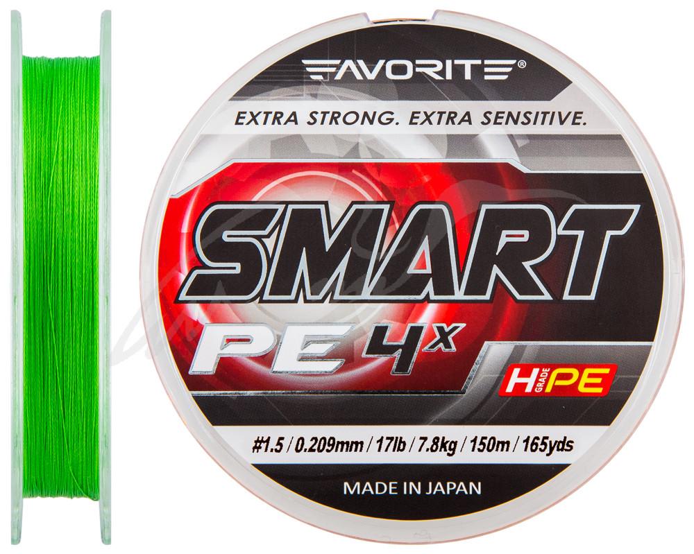 Шнур Favorite Smart PE 4x 150м (салат.) #1.5/0.209мм 7.8кг (1693.10.27)