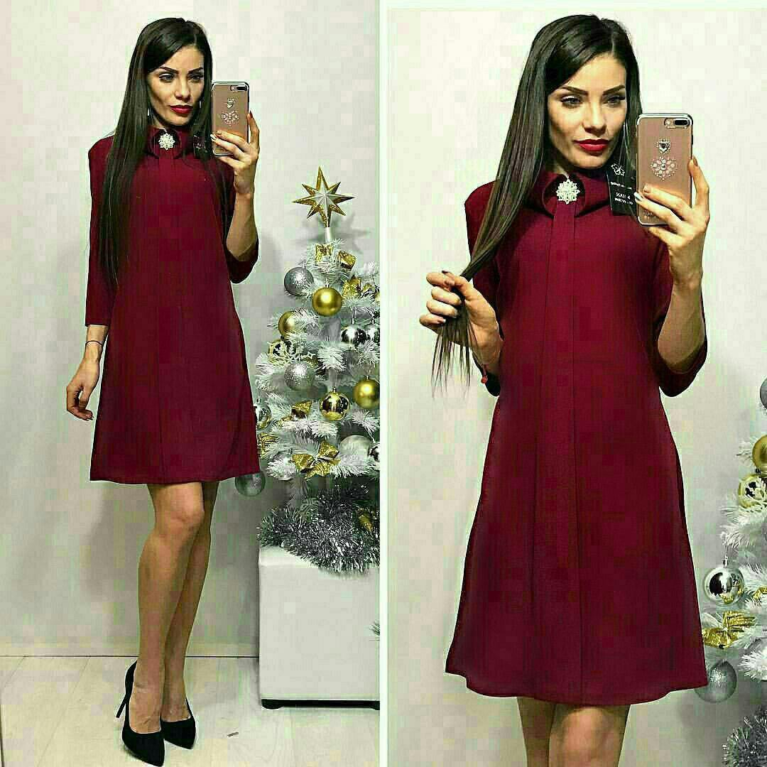 Платье с брошкой, цвет - марсала, 44 размер