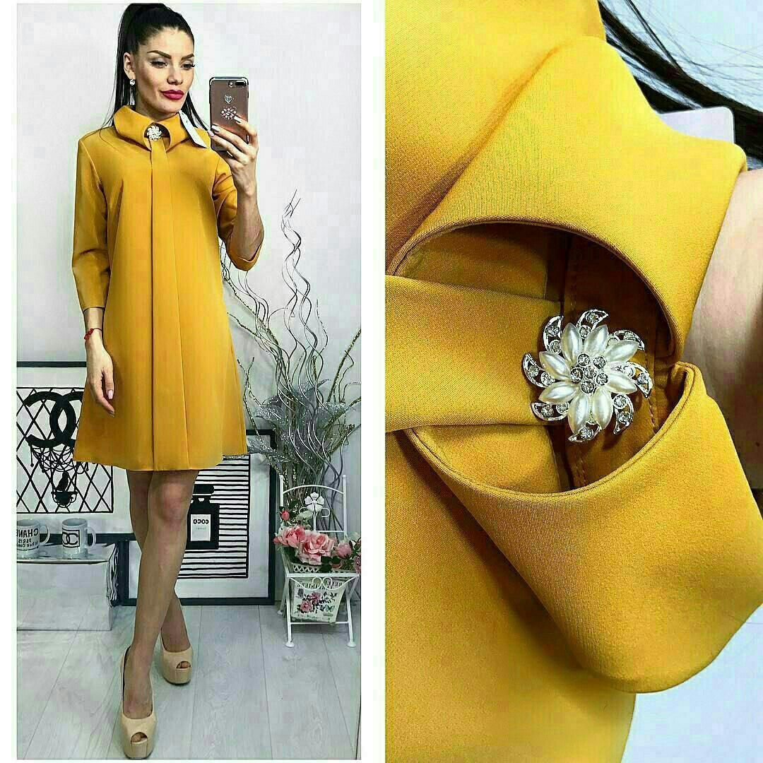 Платье с брошкой, цвет - горчица