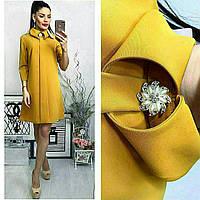 Платье с брошкой, цвет - горчица, фото 1