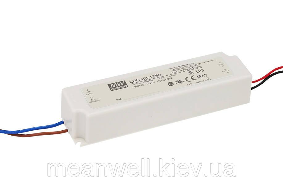 LPC-60-1750 Блок питания Mean Well  Драйвер для светодиодов (LED) 59.5 Вт, 9~34 В, 1750 мА